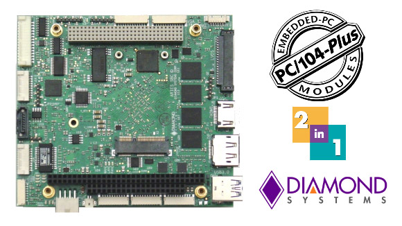 Diamond Systems Aries PC/104+ Baytrail Atom SBC with data acquisition