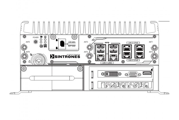 Sintrones EBOX-7010 front panel layout