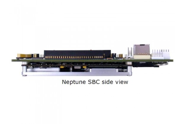 Diamond Systems Neptune side view showing carrier, CPU module and heatspreader